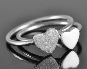 heart ring, sterling silver, ring, stacking, sweet 16, tiny, dainty, friendship