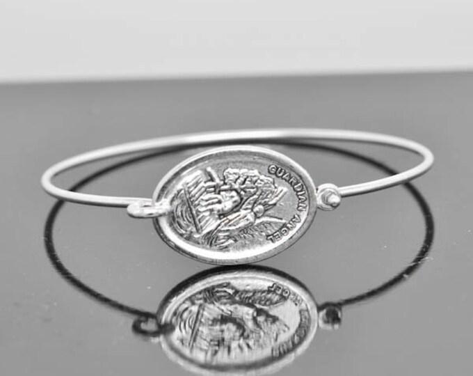 Guardian Angel Bangle, Guardian Angel Jewelry, Guardian Angel Bracelet, Sterling Silver Bangle, Christian Jewelry, Catholic Jewelry