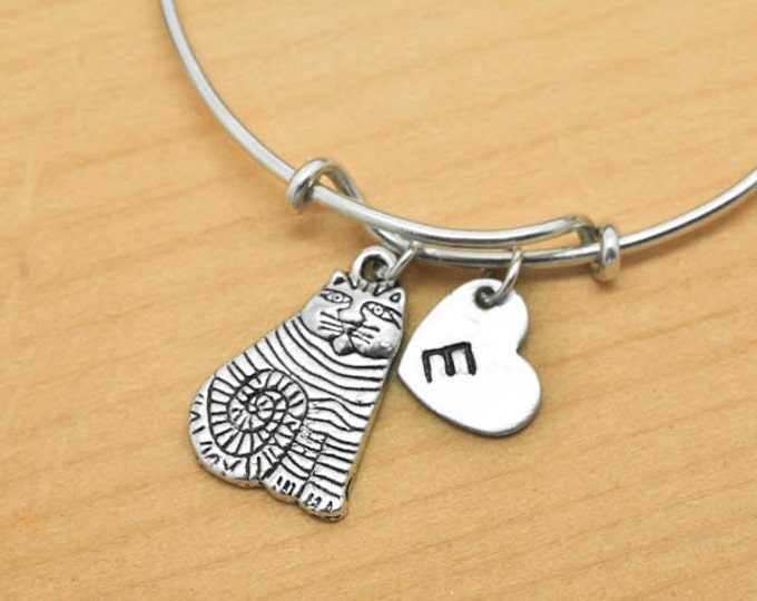Cat Bangle, Sterling Silver Bangle, Cat Bracelet, Expandable Bangle, Personalized Bracelet, Charm Bangle, Monogram, Initial Bracelet