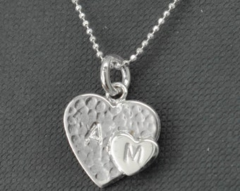 initial heart necklace, sterling silver necklace, mother daughter, best friend, sisters, necklace, initial necklace
