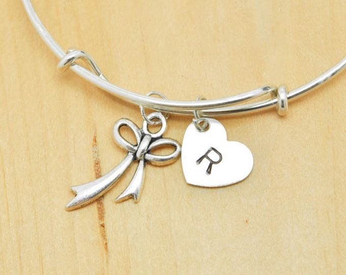 Bow Bangle, Sterling Silver Bangle, Adjustable Bangle, Bridesmaid Gift, Initial Bangle, Personalized Bangle, Charm Bangle, Monogram Bangle