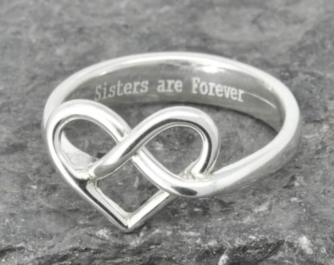 Infinity Ring, Heart Ring, Sterling Silver Ring, best friend, promise,personalized, friendship, sisters, mother daughter, Bridesmaid gift