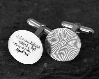 Handwriting Cufflinks, Fingerprint Jewelry, Fingerprint Cufflinks, Handwriting Jewelry, Personalized Cufflinks, Engraved Jewelry, Custom
