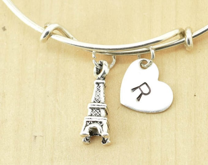 Eiffel Tower Bangle, Sterling Silver Bangle, Eiffel Tower Bracelet, Bridesmaid Gift, Personalized Bracelet, Charm Bangle, Initial Bracelet