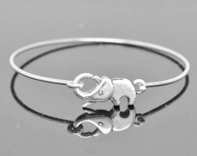 Elephant Bangle, Sterling Silver Bangle, Elephant Bracelet, Stackable Bangle, Charm, Bridesmaid Bangle, Bridesmaid jewelry, Bridal Bracelet