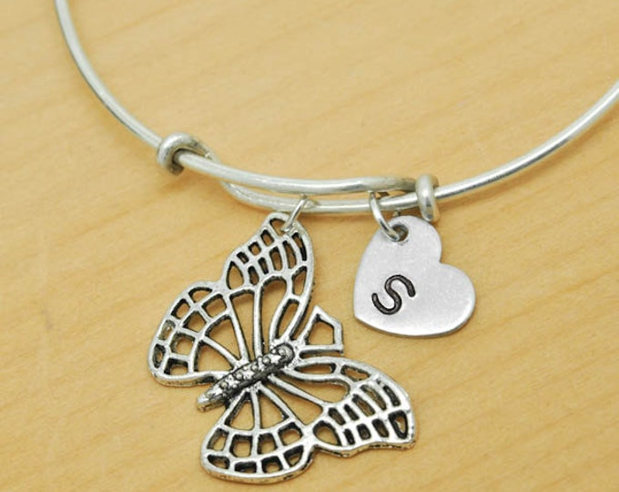 Butterfly Bangle, Sterling Silver Bangle, Butterfly Bracelet, Bridesmaid Gift, Personalized Bracelet, Charm Bangle, Initial Bracelet