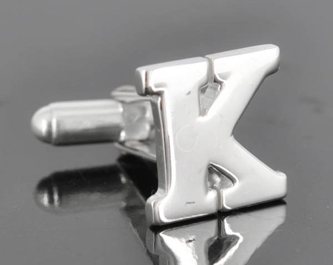 Initial K, Personalized cufflinks, Initial cufflinks, mens accessories, mens cufflinks, groomsmen gift, Gift for Father, Wedding day gift