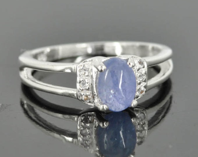 Kyanite ring, sterling silver ring, cabochon, blue, one of a kind, oval