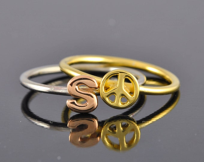 10k Gold peace sign ring, novelty ring, stacking ring, jubilejewel, peace sign, peace ring, peace sign ring