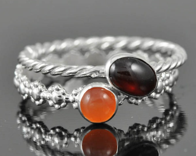Garnet ring, january, birthstone ring, oval, gemstone ring, birthstone ring, sterling silver ring, bezel set, stackable ring