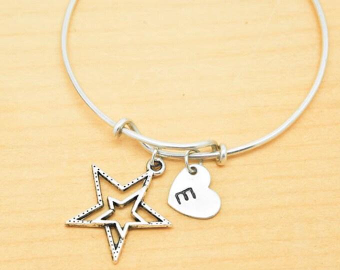 Star Bangle, Sterling Silver Bangle, Star Bracelet, Bridesmaid Gift, Personalized Bracelet, Charm Bangle, Monogram, Initial Bracelet