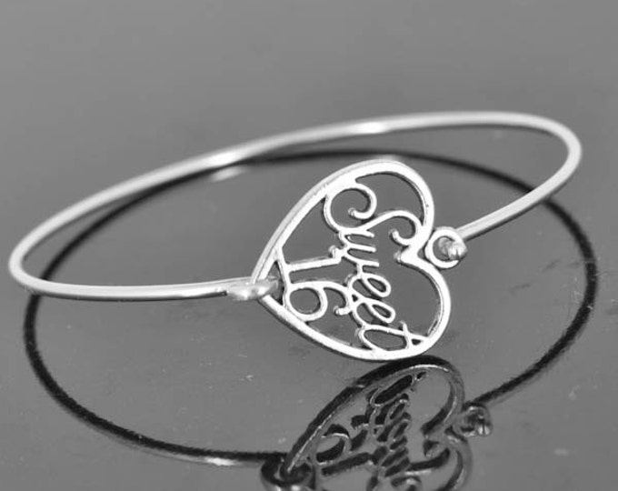 Sweet 16 Bangle, Sterling Silver Bangle, Sweet 16 Bracelet, Stackable Bangle, Charm Bangle, Heart Bangle, Heart jewelry, Heart Bracelet