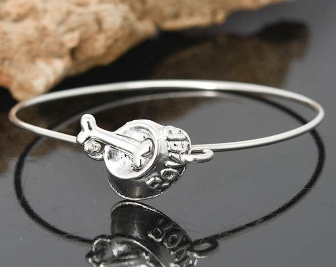 Dog Bone Bangle, Sterling Silver Bangle, Dog Bone Bracelet, Stackable Bangle, Charm , Bridesmaid Bangle, Bridesmaid jewelry, Bridal Bracelet