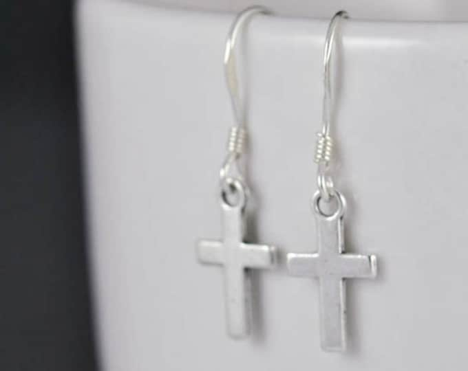 cross earrings, silver earrings, sterling silver, sterling silver earrings, earrings, drop, dangle, hanging, christian, catholic