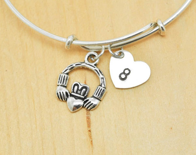 Claddagh Bangle, Sterling Silver Bangle, Adjustable Bangle, Bridesmaid Gift, Initial Bangle, Personalized Bangle, Charm Bangle, Monogram