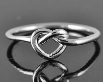 infinity heart ring, love knot ring, heart knot, infinity, heart, sterling silver, Bridesmaid Gift, Bridal Jewelry, Maid of honor gift