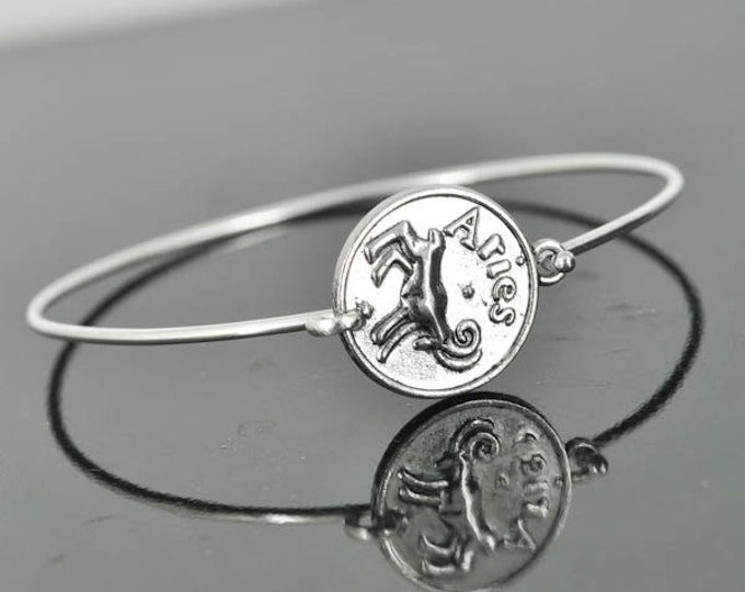 Zodiac Bangle, Sterling Silver Bangle, Zodiac Bracelet, Stackable Bangle, Aries, Bridesmaid Bangle, Bridesmaid jewelry, Bridal Bracelet
