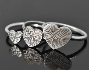 Fingerprint Ring, Fingerprint Jewelry, Stacking Ring, Heart Ring, Engraved Ring, Personalized Jewelry, Bridesmaid Gift, Mother Daughter Ring