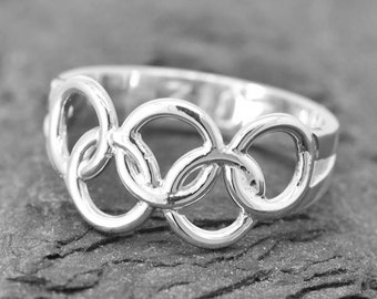 Olympic Ring, Olympic Jewelry, Sterling Silver Ring, Custom Made, 2016, Engraved Ring, JubileJewel, Handmade Jewelry, 2017, 2018