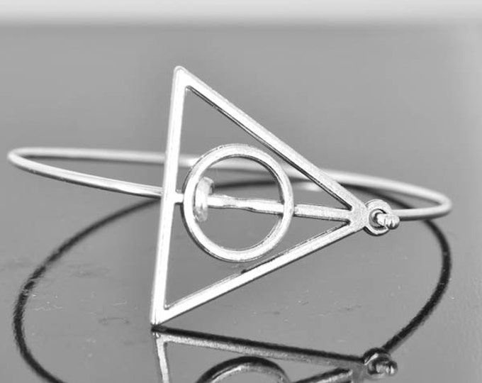 Death Hallows Bangle, Sterling Silver Bangle, Death Hallows Jewelry, Death Hallows Bracelet, Sterling Silver Bracelet, Death Hallows