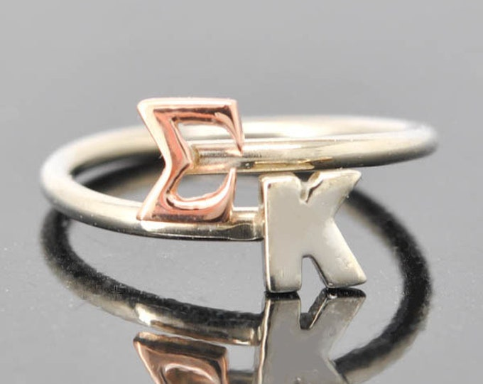 Sigma Kappa, Sterling Silver Ring, Greek Letter Ring, Adjustable Ring, Initial Ring, Personalized Gift, Bridesmaid Gift, Bridal Jewelry