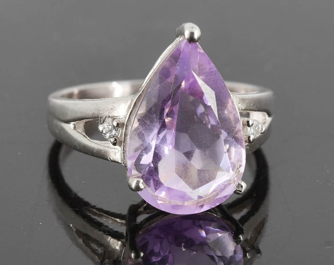 Amethyst Ring, 5 ct, Purple, Teardrop, Birthstone Ring, February, Gemstone Ring, Sterling Silver Ring, Solitaire Ring, Statement Ring
