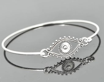 Evil Eye Bangle, Sterling Silver Bangle, Evil Eye Bracelet, Stackable Bangle, Charm, Bridesmaid Bangle, Bridesmaid jewelry, Bridal Bracelet