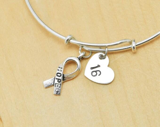 Breast Cancer Bangle, Sterling Silver Bangle, Breast Cancer Bracelet, Bridesmaid Gift, Personalized Bracelet, Charm Bangle, Initial Bangle