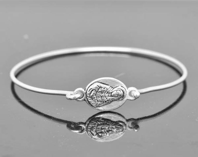 Mary Bangle, Mother of Jesus Jewelry, Mary Bracelet, Sterling Silver Bangle, Sterling Silver Bracelet, Christian Jewelry, Catholic Jewelry