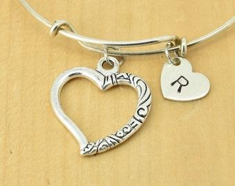 Heart Bangle, Sterling Silver Bangle, Adjustable Bangle, Bridesmaid Gift, Initial Bangle, Personalized Bangle, Charm Bangle, Monogram