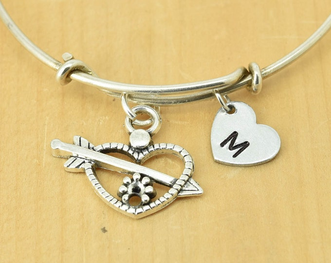Heart Arrow Bangle, Sterling Silver Bangle, Heart Bracelet, Heart Jewelry, Bridesmaid Gift, Personalized Bracelet, Charm Bangle, Initial