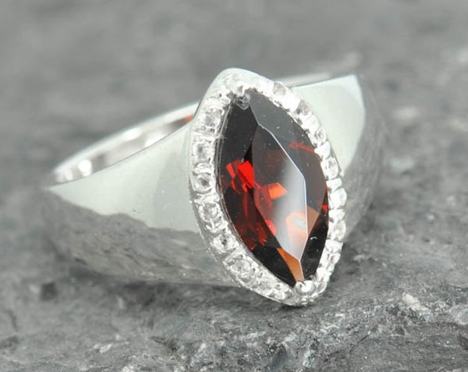Garnet ring, sterling silver ring, genuine gemstone, red, january, birthstone, gemstone ring, one of a kind