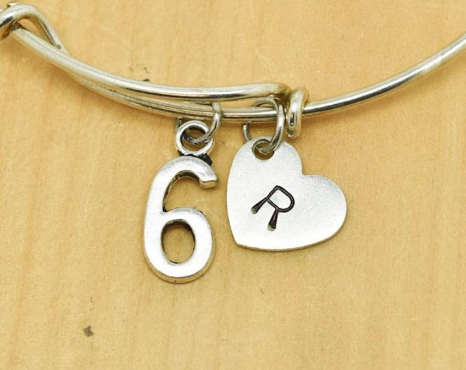 Number six Bangle, Sterling Silver Bangle, 6 Bracelet, Bridesmaid Gift, Personalized Bracelet, Charm Bangle, Monogram,Initial Bracelet