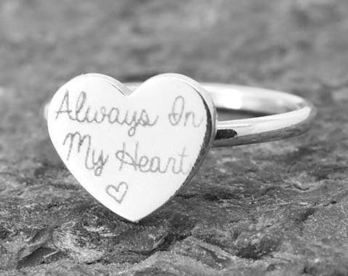 Handwriting Ring, Handwriting Jewelry, Stacking Ring, Heart Ring, Engraved Ring, Personalized Jewelry, Bridesmaid Gift, Mother Daughter Ring