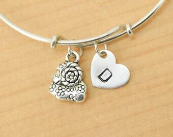 Sheep Bangle, Sterling Silver Bangle, Sheep Bracelet, Bridesmaid Gift, Personalized Bracelet, Charm Bangle, Monogram, Initial Bracelet