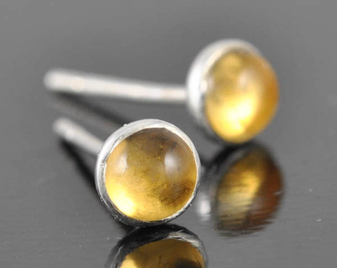 Citrine earrings, stud earrings, november, birthstone, sterling silver earring
