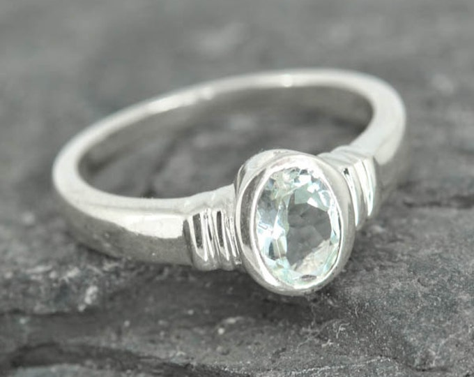 Aquamarine ring, sterling silver, genuine, gemstone, march, birthstone, blue, faceted, one of a kind