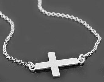 Sideways cross necklace, sterling silver necklace, cross necklace, infinity cross necklace,