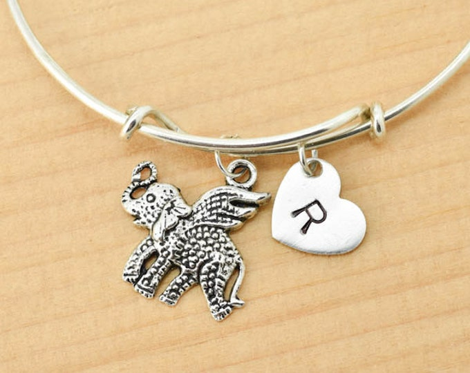 Elephant Bangle, Sterling Silver Bangle, Elephant Bracelet, Bridesmaid Gift, Personalized Bracelet, Charm Bangle, Initial Bracelet