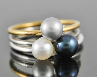 Blue pearl ring, gemstone ring, stacking ring, birthstone ring, june, bridesmaid gift, best friend ring, personalized ring, Bridesmaid gift