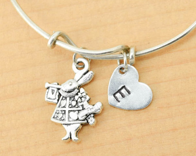 Rabbit Bangle, Sterling Silver Bangle, Rabbit Bracelet, Bridesmaid Gift, Personalized Bracelet, Charm Bangle, Initial Bracelet