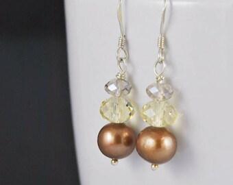 bridal earrings, beach wedding, bridal brown freshwater pearl, swarovski crystal, sterling silver earrings, handmade