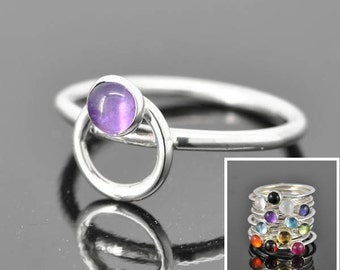 Birthstone ring, family ring, gemstone ring, sterling silver ring, custom made