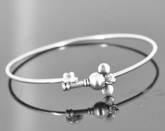 Mickey Mouse Key Bangle, Sterling Silver Bangle, Key Bracelet, Stackable Bangle, Bridesmaid Bangle, Bridesmaid jewelry, Bridal Bracelet