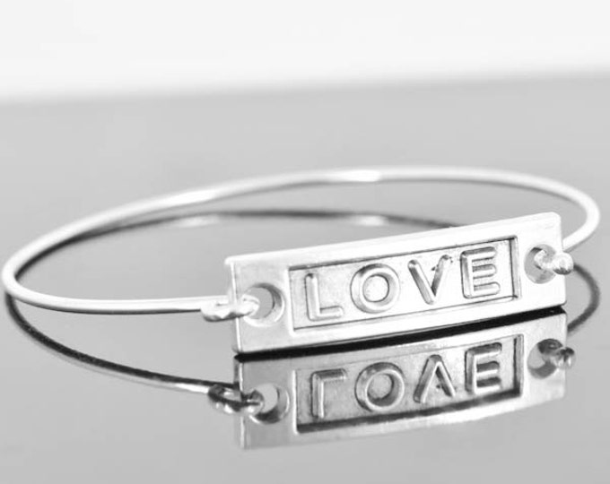 Love Bangle, Sterling Silver Bangle, Love Bracelet, Stackable Bangle, Charm Bangle, Bridesmaid Bangle, Bridesmaid jewelry, Bridal Bracelet