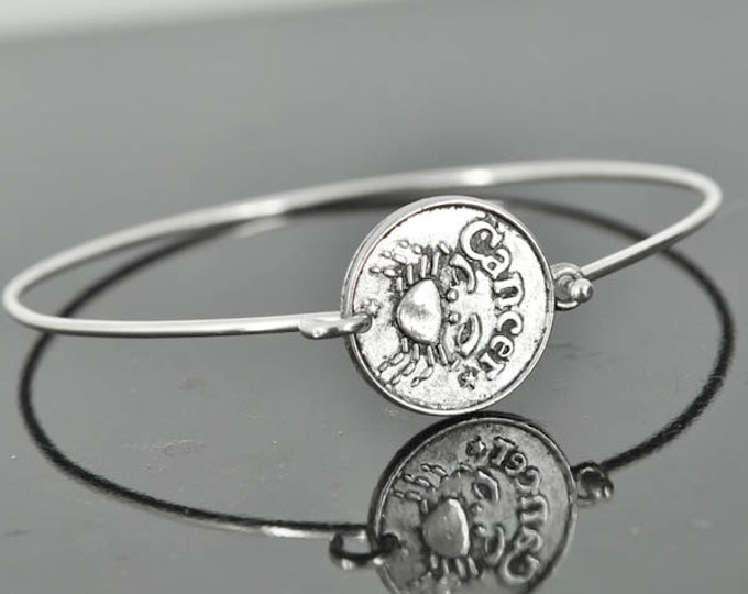 Zodiac Bangle, Sterling Silver Bangle, Zodiac Bracelet, Stackable Bangle, Cancer, Bridesmaid Bangle, Bridesmaid jewelry, Bridal Bracelet