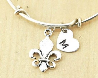 Fleur-De-Lis Bangle, Sterling Silver Bangle, Fleur-De-Lis Bracelet, Expandable Bangle, Personalized Bracelet, Charm Bangle, Initial Bracelet