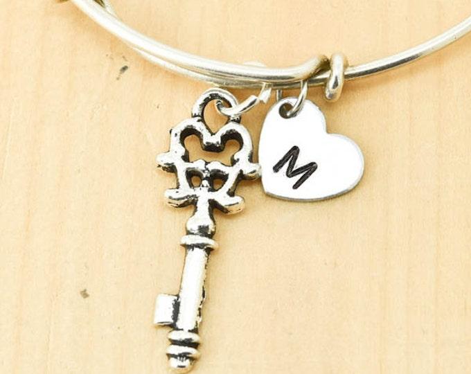 Heart Key Bangle, Sterling Silver Bangle, Adjustable Bangle, Bridesmaid Gift, Initial Bangle, Personalized Bangle, Charm Bangle, Monogram
