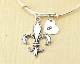 Fleur-De-Lis Bangle, Sterling Silver Bangle, Fleur-De-Lis Bracelet, Bridesmaid Gift, Personalized Bracelet, Charm Bangle, Initial Bracelet