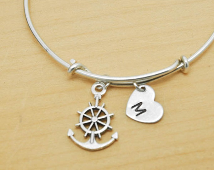 Anchor Wheel Bangle, Sterling Silver Bangle, Anchor Wheel Bracelet, Bridesmaid Gift, Personalized Bracelet, Charm Bangle, Initial Bracelet